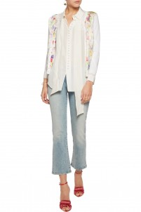 Printed silk-satin and wool, silk and cashmere-blend cardigan