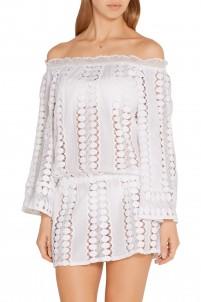 Tabitha off-the-shoulder crochet-paneled cotton-voile dress