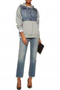 Denim-paneled cotton-jersey hooded sweatshirt