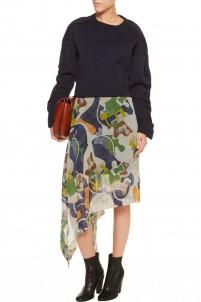 Asymmetric printed silk-chiffon skirt