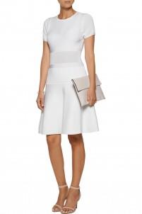 Paneled stretch and open-knit mini dress