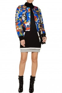Quilted printed silk-twill bomber jacket