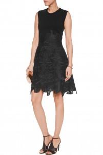 Stretch-knit and guipure lace mini dress
