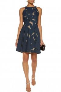 Bywell cutout cotton-blend twill and silk-organza mini dress