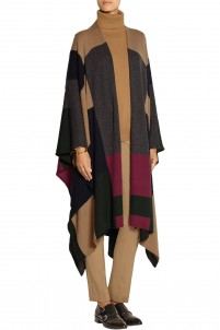 Color-block cashmere wrap