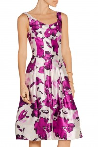 Pleated floral-print silk dress