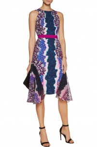 Flux silk chiffon-paneled printed crepe de chine dress