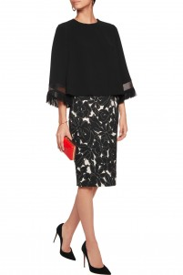 Printed stretch-silk crepe skirt