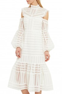 Alexis cutout striped organza dress