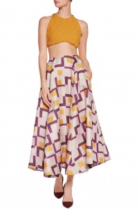 Eleanor printed basketweave midi skirt