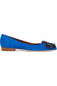 Billie embellished suede point-toe ballet flats
