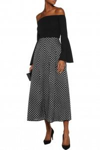 Polka-dot fil coupé organza maxi skirt