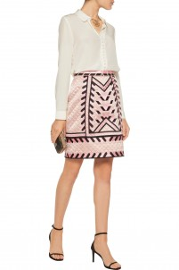 Anfisa embroidered quilted silk mini skirt
