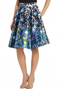 Printed silk-twill skirt