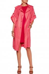 Crochet-knit belted coat