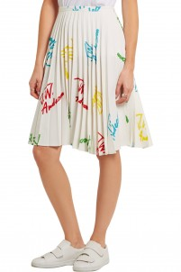 Pleated printed stretch-crepe skirt