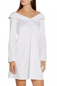Off-the-shoulder stretch-cotton sateen mini dress
