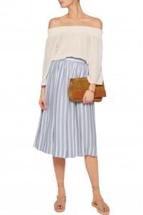 Mitka striped pleated silk midi skirt