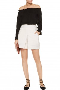 Lanai skirt-effect stretch cotton and linen-blend shorts