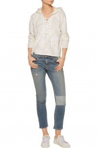 Tomboy low-rise patchwork skinny jeans