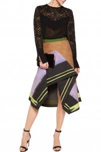 Aneta asymmetric pleated wool midi skirt