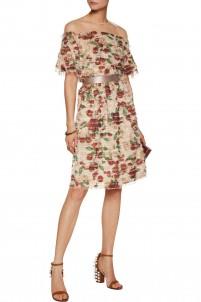 Emelia fringed printed voile skirt