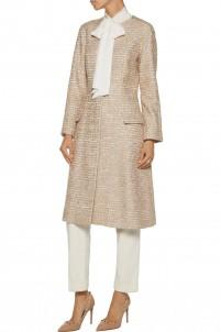 Metallic tweed coat