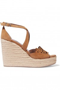 Clem cutout suede espadrille wedge sandals