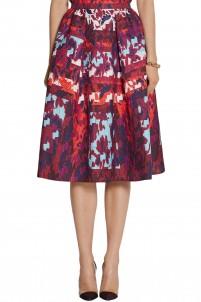 Emma printed silk-blend cloqué skirt