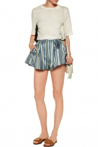 Striped satin-twill mini shorts