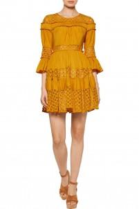 Octavia ruffled paneled lace and silk-satin mini dress