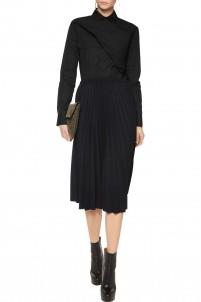 Sunray pleated twill midi skirt