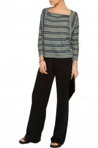 Baja draped striped linen and cotton-blend sweater