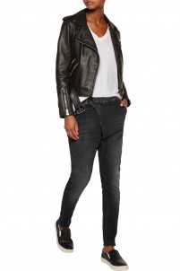 X-Over faded asymmetric boyfriend jeans