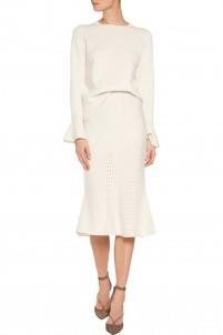 Pointelle-knit wool midi skirt