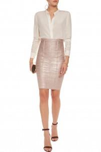 Metallic bandage pencil skirt