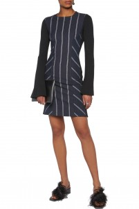 Striped paneled twill and ribbed stretch-jersey mini dress