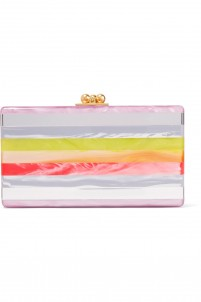 Jean striped acrylic box clutch