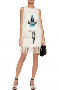 Embroidered cotton-blend bouclé-tweed mini skirt