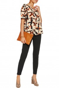 Onestias silk-trimmed printed crepe top