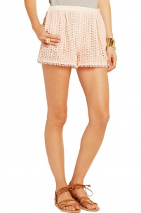 Stretch crepe-trimmed guipure lace shorts