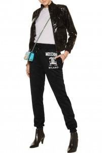 Printed piqué track pants