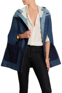Hooded patchwork denim cape