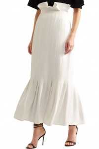 Rational fluted twill maxi skirt