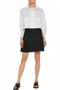 Helena eyelet-embellished cotton-twill mini skirt