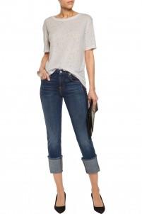 Mid-rise paneled distressed slim-leg jeans