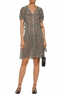 Clarice gingham wool-broadcloth dress