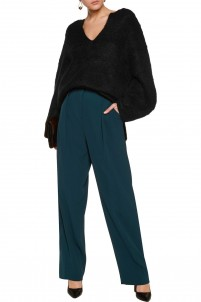 Zenith pleated crepe straight-leg pants