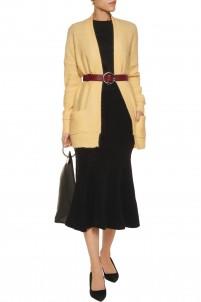 Wool-blend  bouclé midi skirt