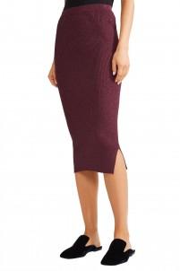 Limon metallic ribbed-knit skirt